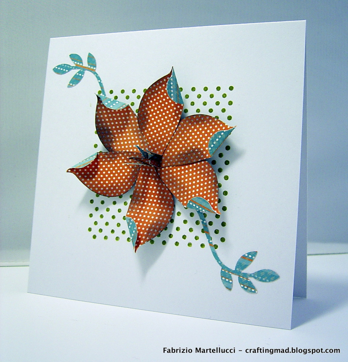 Tropical flower greeting card made using Stampin' Up supplies: dot dot dot stamp, two step bird punch.
