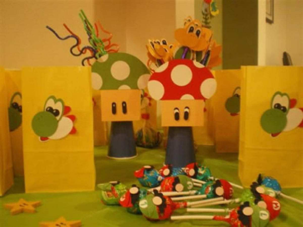 She also used paper cut-outs to create Yoshi favour bags and Koopa Troopa pencils.