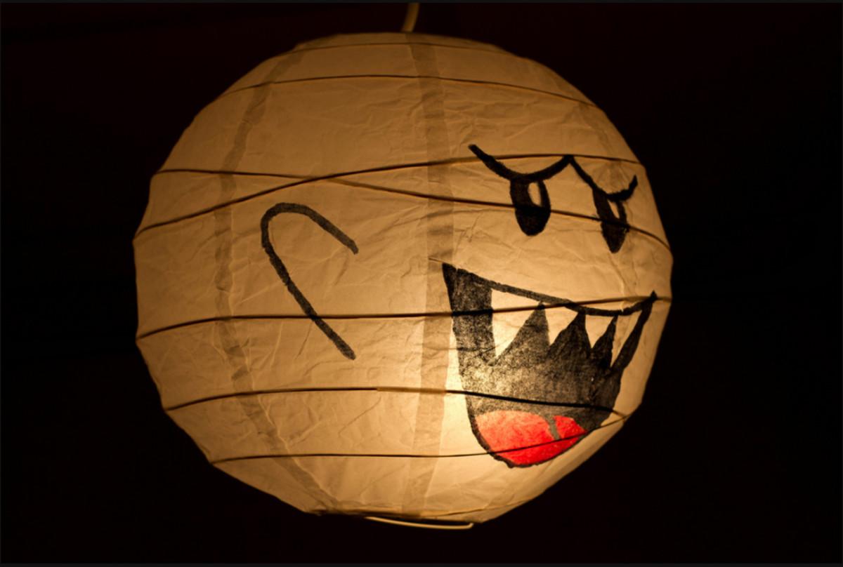 A big light-up Boo lantern.