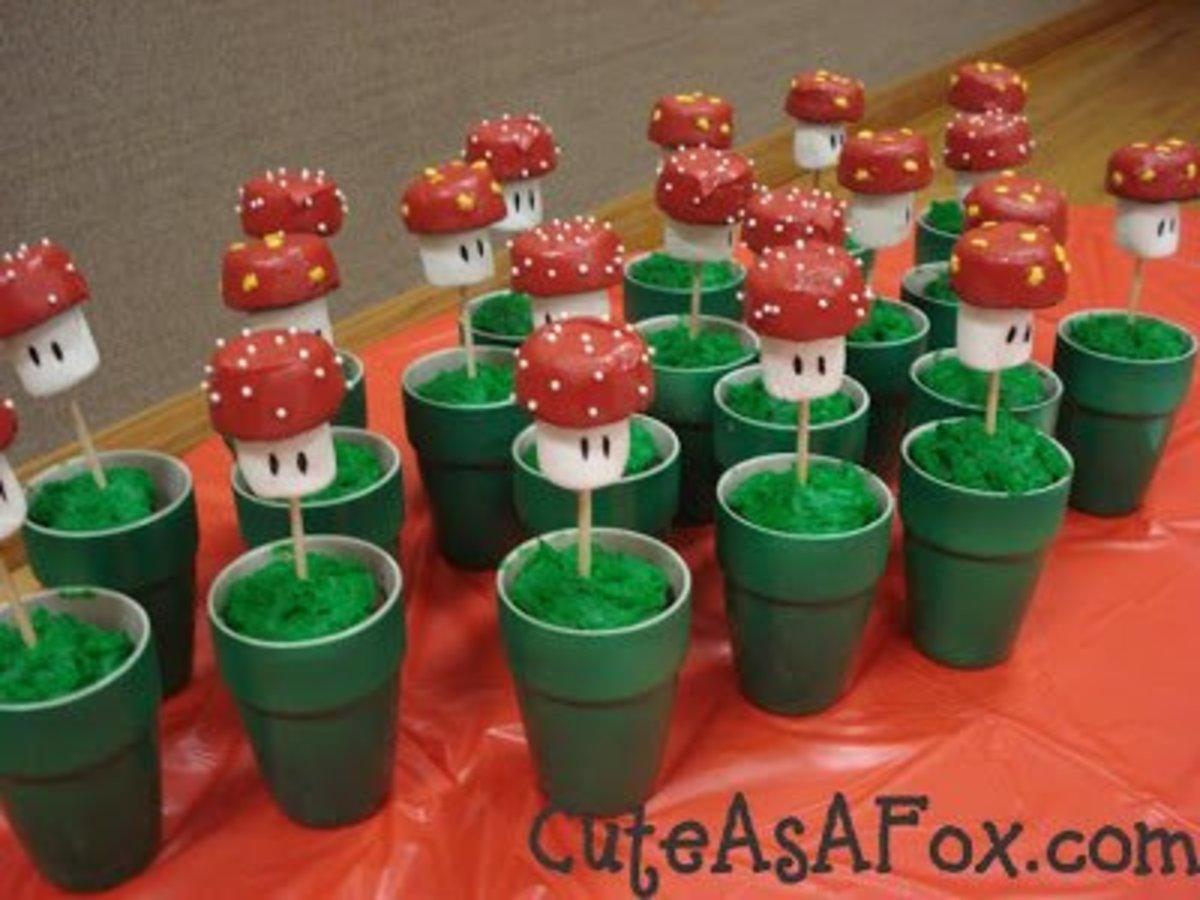Another idea for marshmallow mushroom pops.