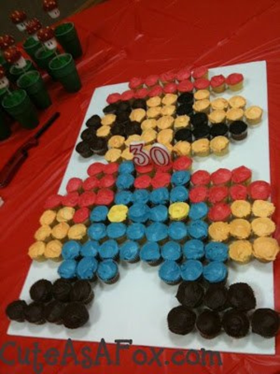 """A Mario """"cake"""" made out of cupcakes."""