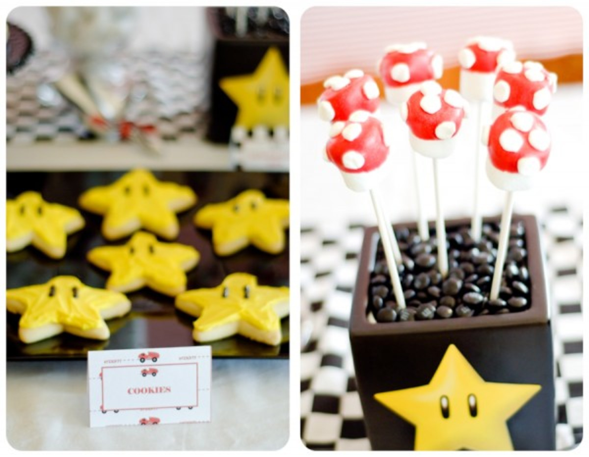 Star cookies and mushroom marshmallow pops.