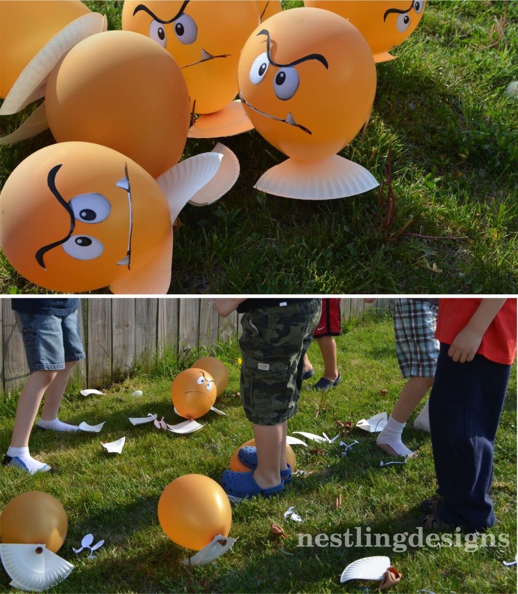 A cute party game with Goomba balloons!