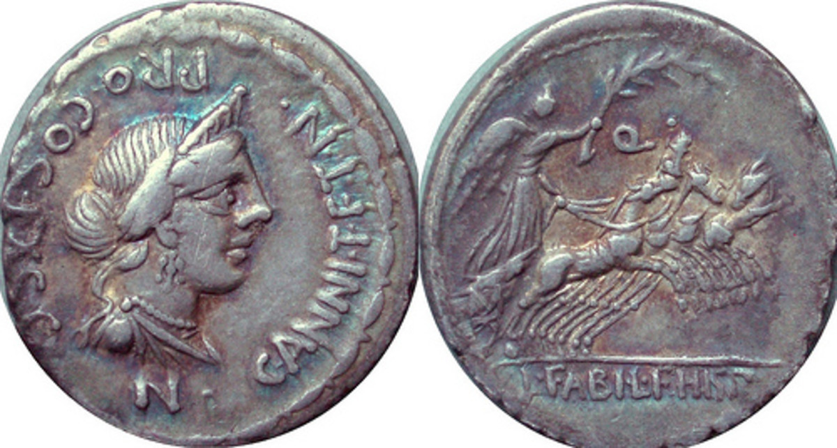 One side of this ancient coin depicts Anna Parenna, the goddess of the circle of the year.