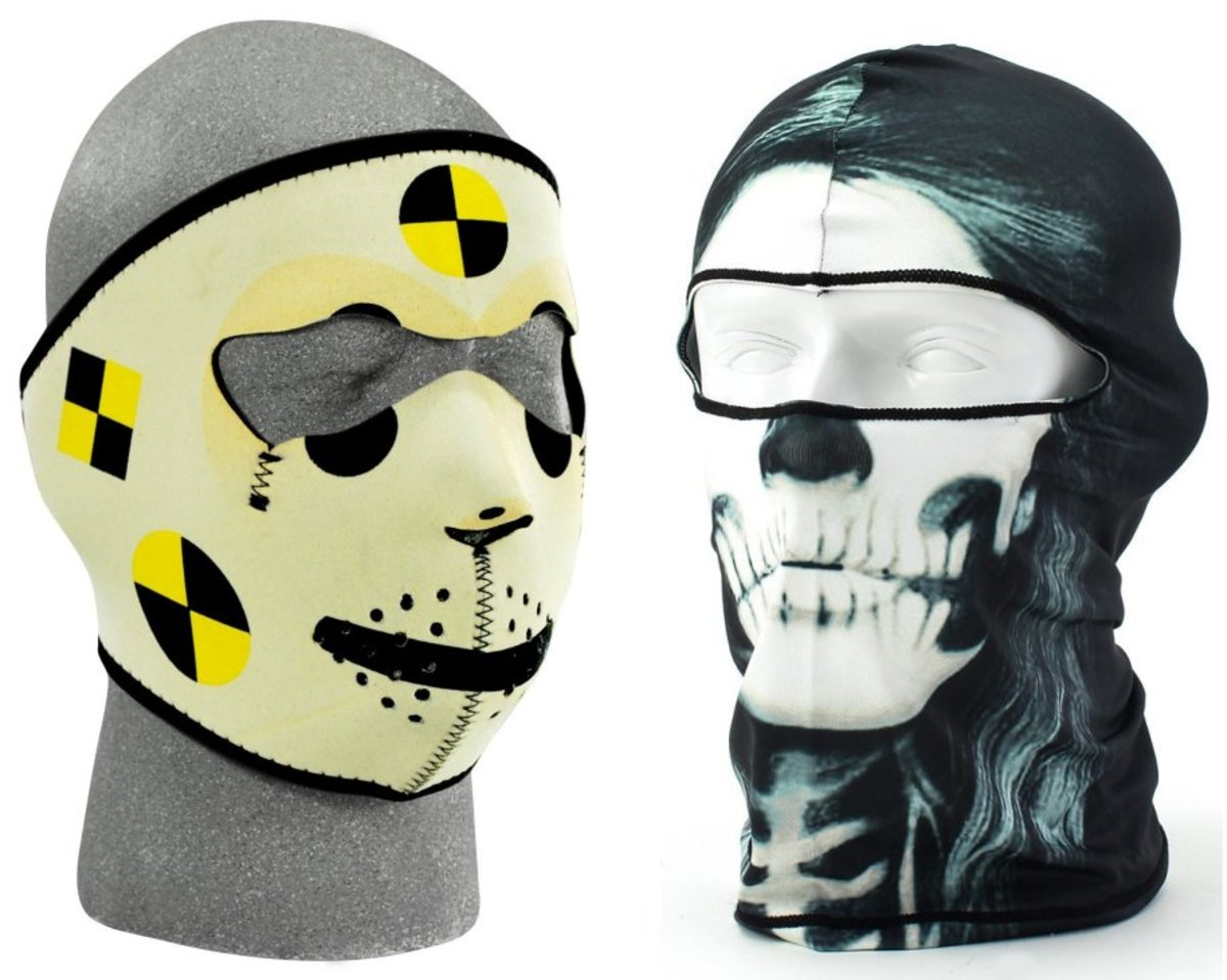 Cool Face Masks would make nice, inexpensive gifts for guys who are crazy about motorsports.
