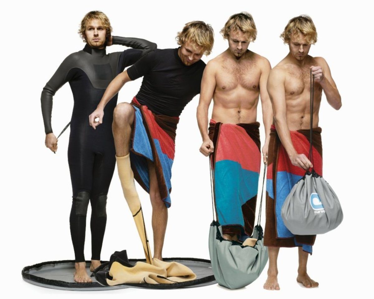 This clever changing mat will keep his wetsuit clean and his car trunk dry, because it doubles as a waterproof bag.