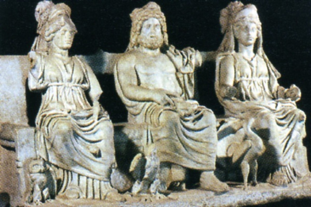 The Triad Capitolina, pictured above, consisted of Jupiter, Juno and Minerva.