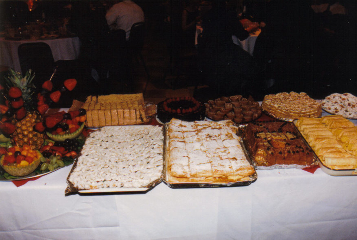 The dessert table, complete with traditional Romanian sweets.