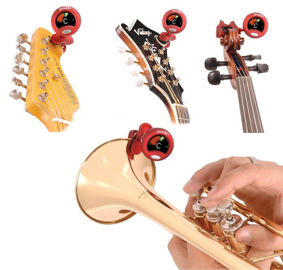 Universal tuner that works with stringed, woodwind and brass instruments. The cheapest, most accurate one on the market.