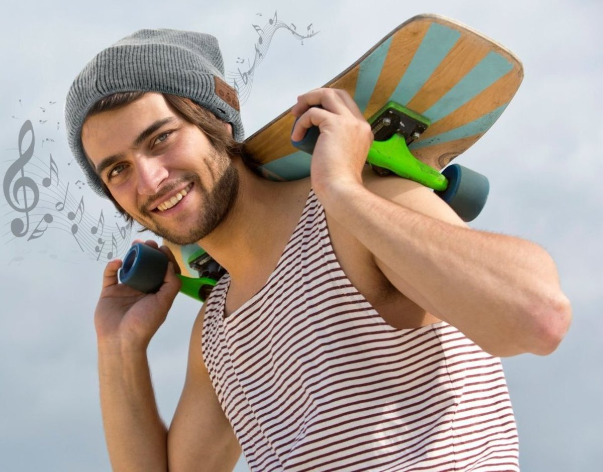 A trendy and comfy beany that plays your favorite music via two speakers integrated into its brim.