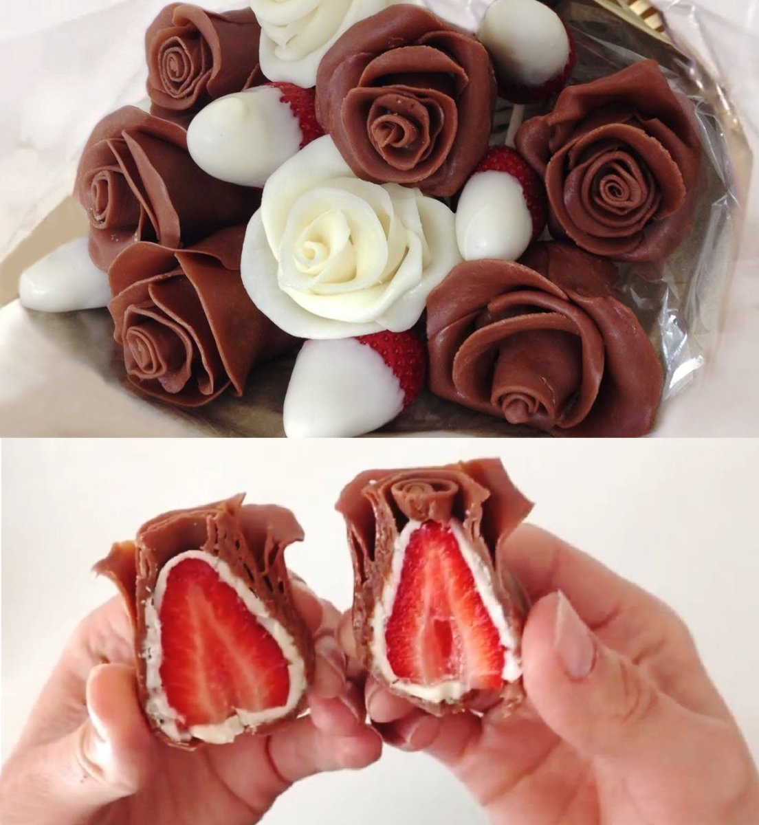 Gorgeous chocolate strawberry roses in a cute bouquet.