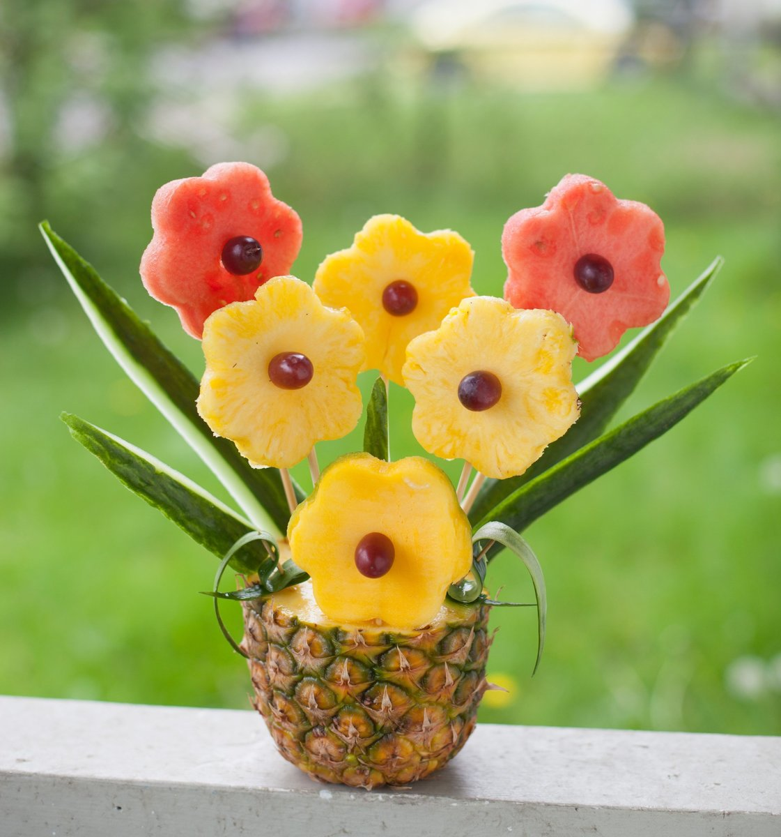 DIY edible fruit arrangement for Mother's Day.