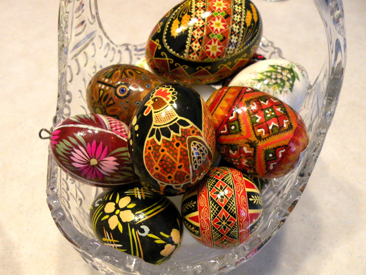 Author's collection of handpainted Easter Eggs.