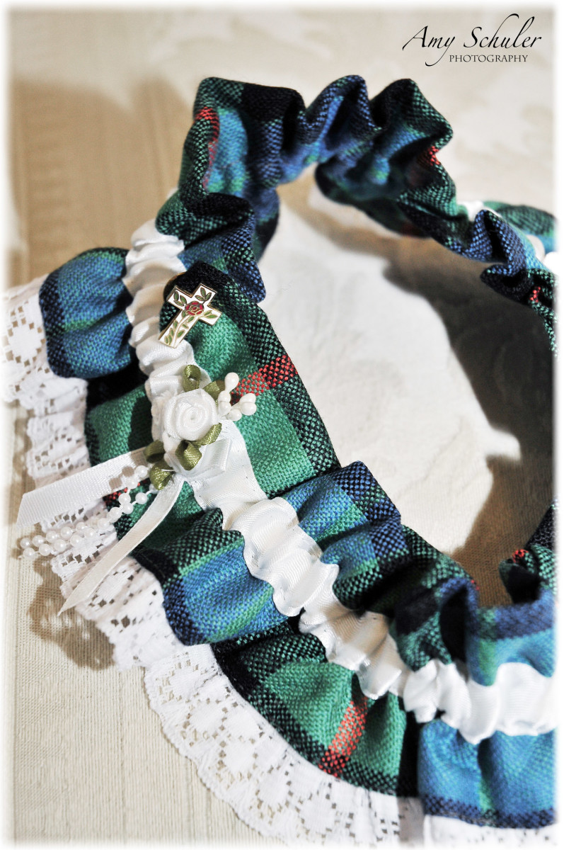 My tartan garter with the pin my grandfather gave me when he passed away
