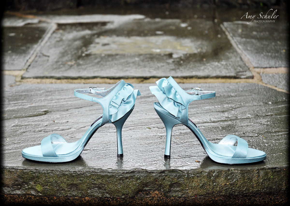 A great picture of my blue wedding shoes
