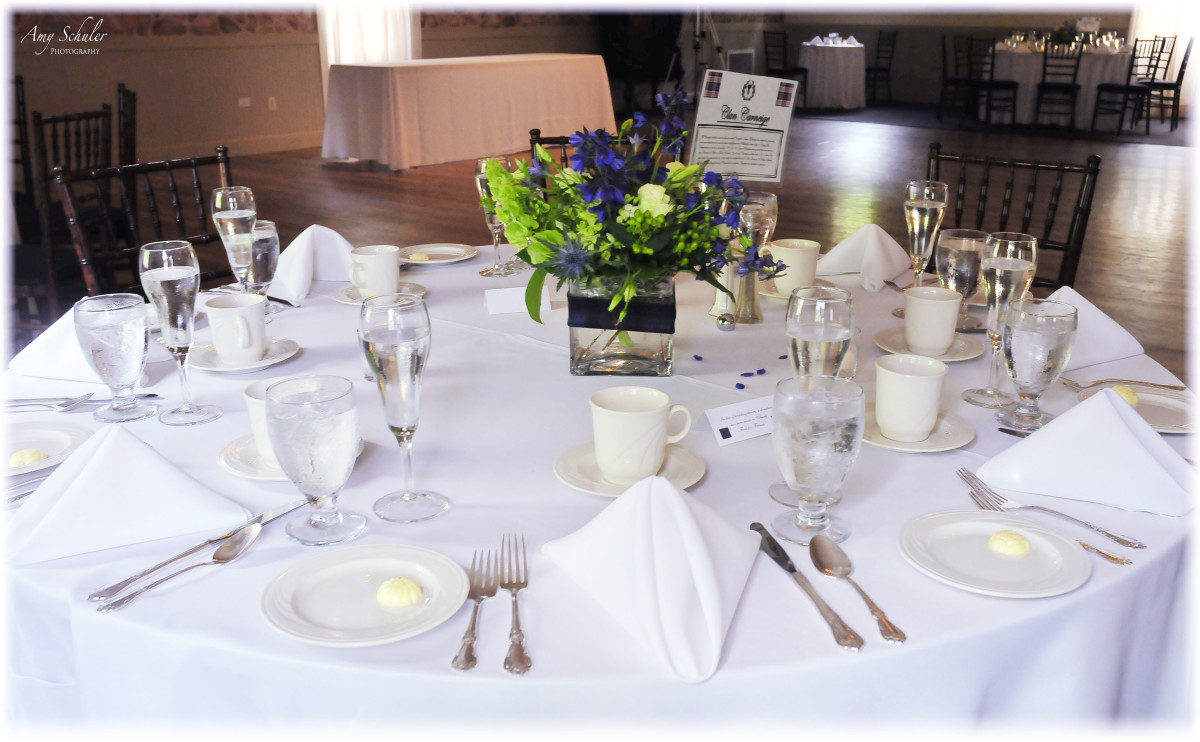 The centerpieces were wrapped in tartan ribbon and each table was named after a scottish clan