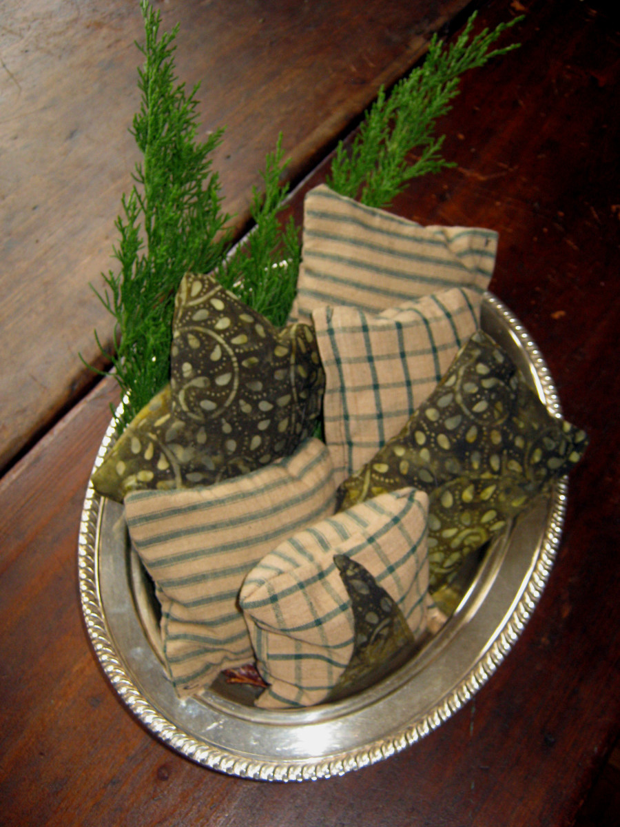 Christmas Sachets in a Silver Bowl