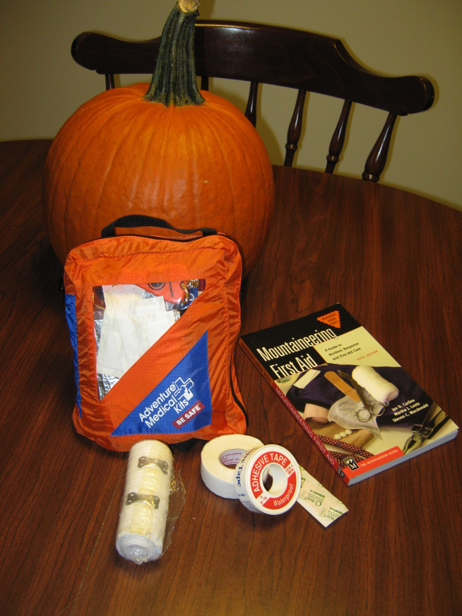 Always have first aid supplies on hand while pumpkin carving.  Photo by Dan Human