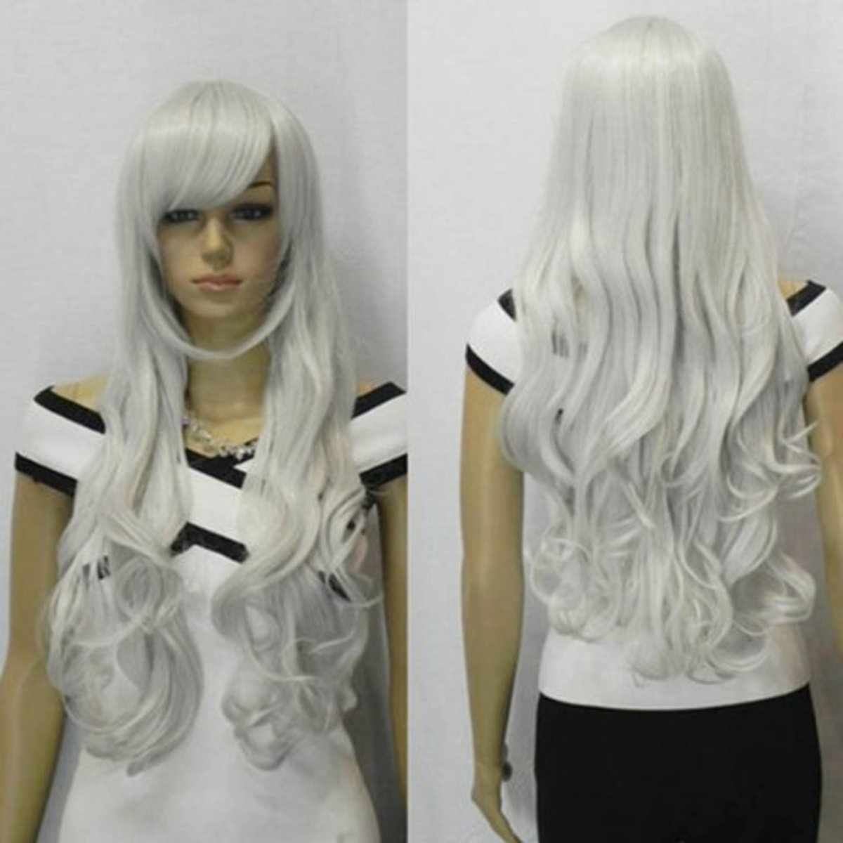 Long and wavy silver cosplay wig hair