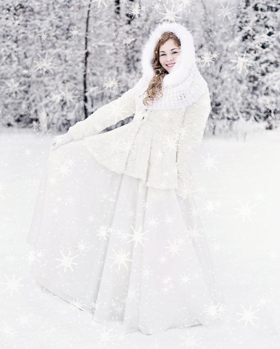 Winter lady woman white dress wrap