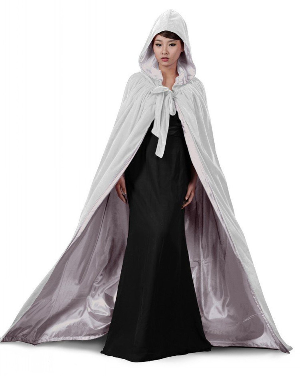 Silver white velvet hooded cloak ideal for a winter witch or Queen costume