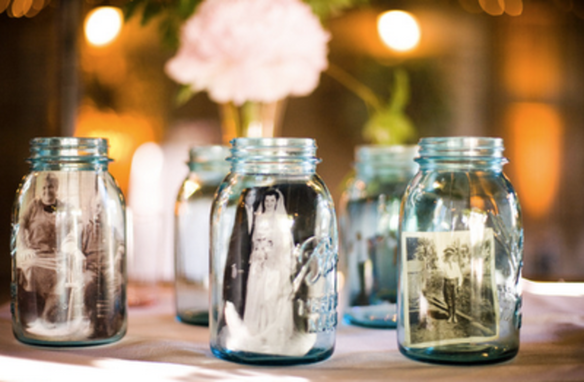 Mason jar photo display