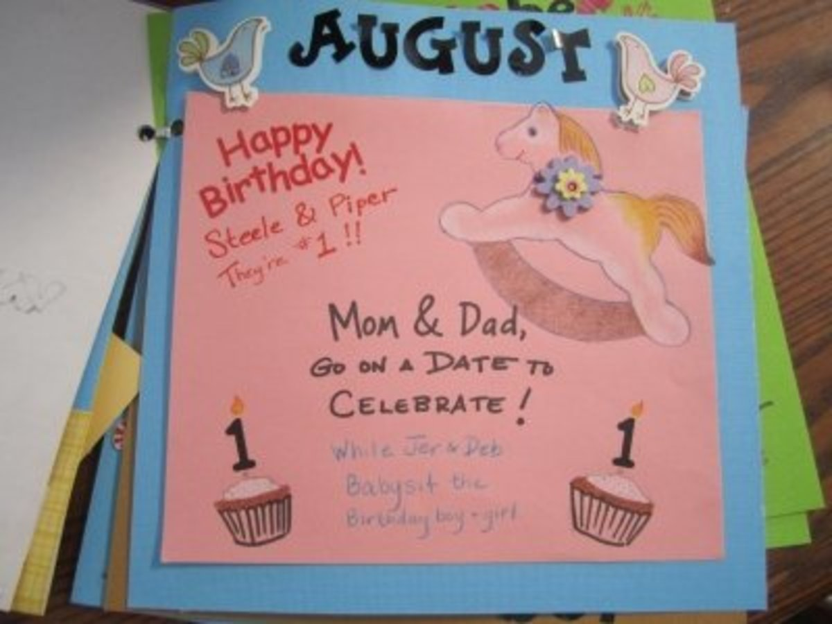 For the August coupon, the theme is the twins' first birthday, so Mom and Dad should go out and celebrate with a date.