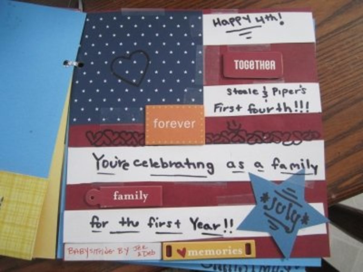 The theme of July's coupon is the family's first July 4th as a foursome.