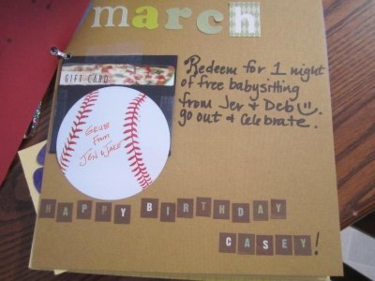 The theme for the March coupon is the husband's birthday and one of the couple's favorite sports. There's gift card for a pizza.