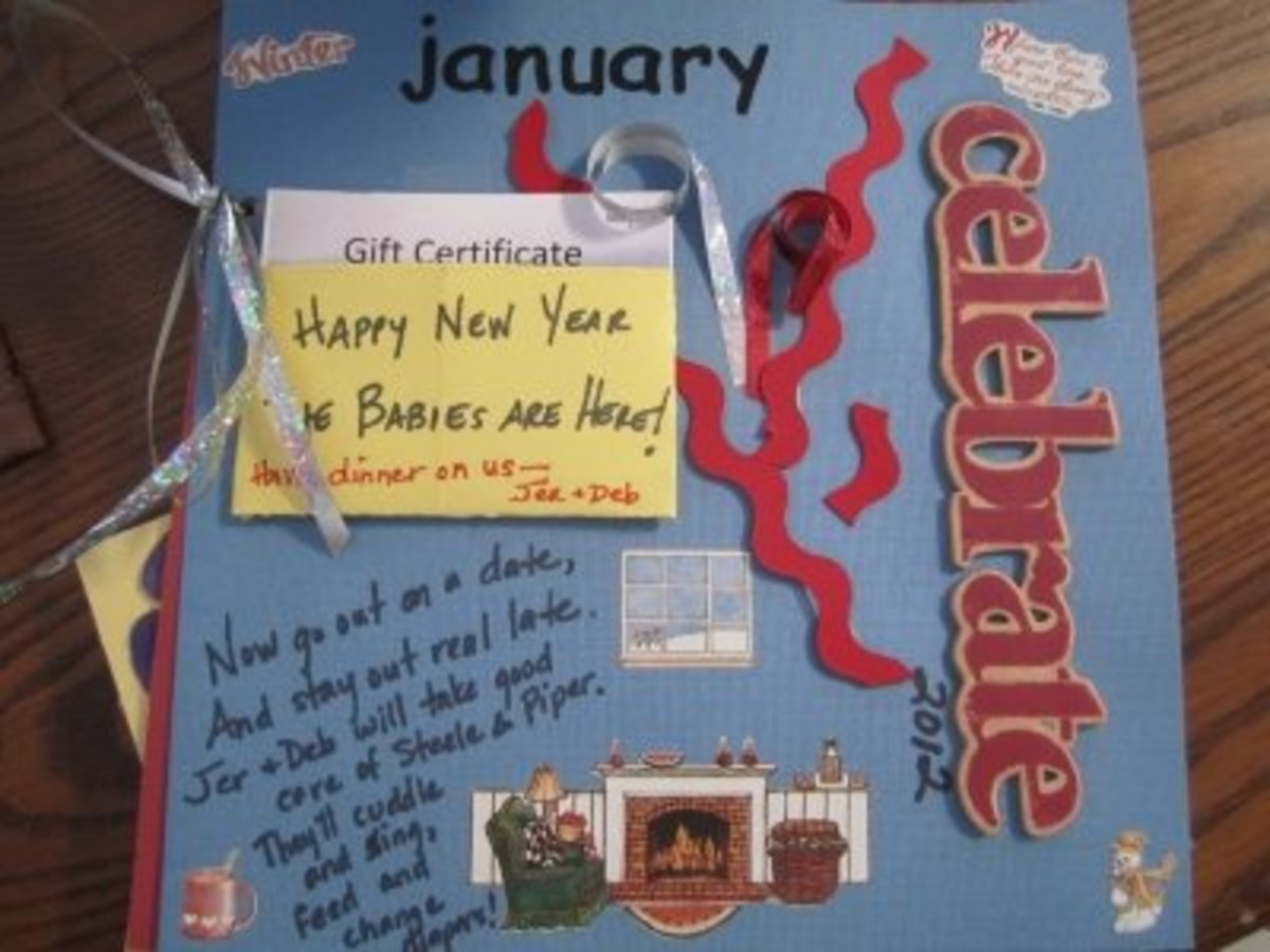 January babysitting/date night coupon with a gift certificate for one of the new mom and dad's favorite restaurants