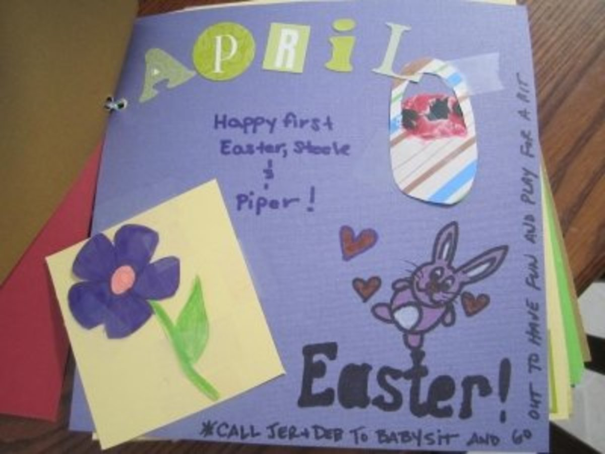 The theme for the April babysitting/date night coupon is Easter--another first for the baby twins.