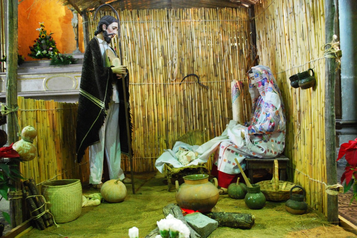 Part of a nativity scene from the Church of the Company of Jesus in the city of Oaxaca. Joseph and Mary are dressed in Oaxacan costume.