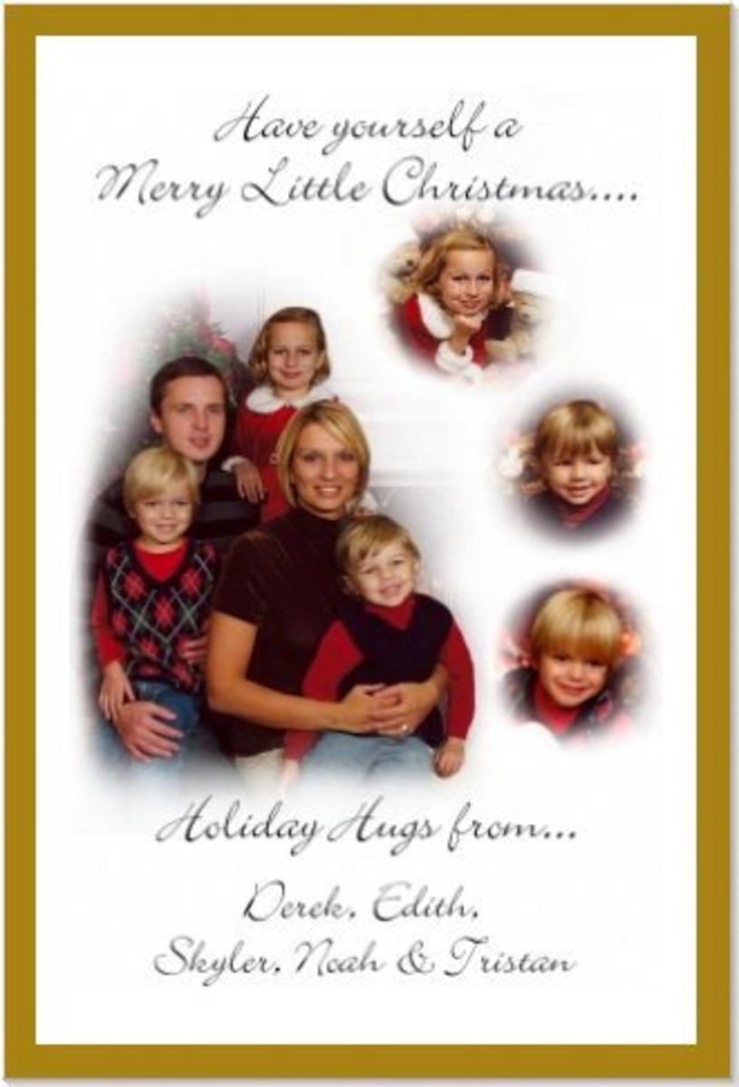 This fun family Christmas card uses photographs to personalize it.