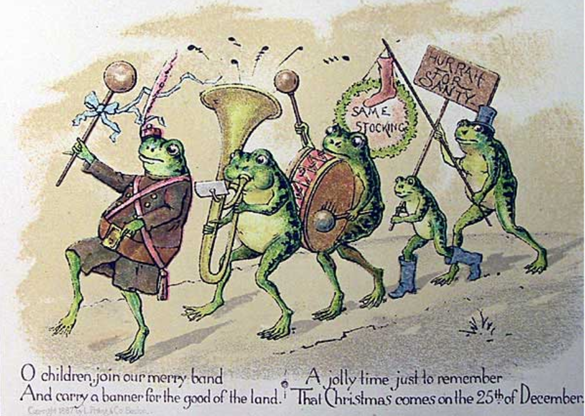 Image 1. Vintage drawing of frogs in a band playing instruments.