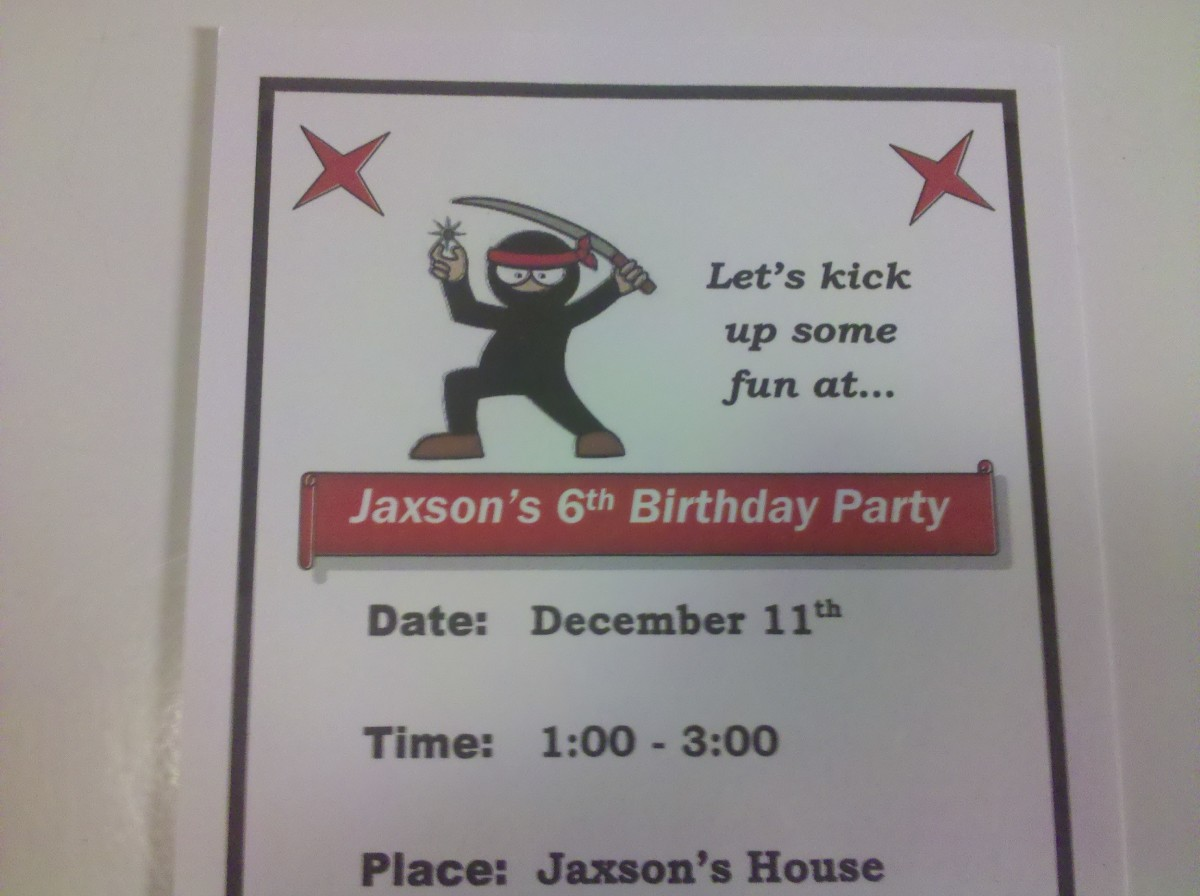Ninja Birthday Invitations