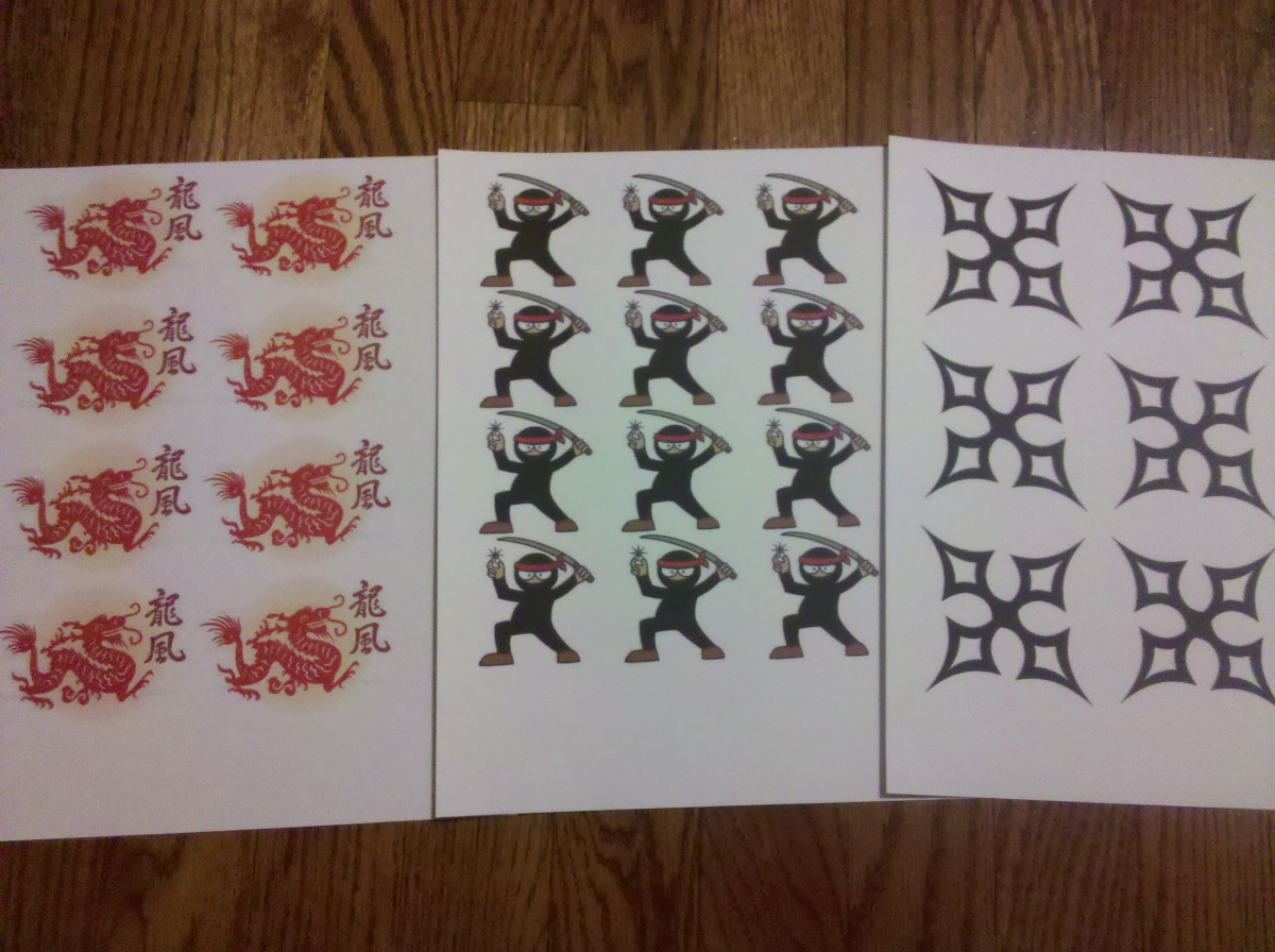 Ninja Images on Cardstock