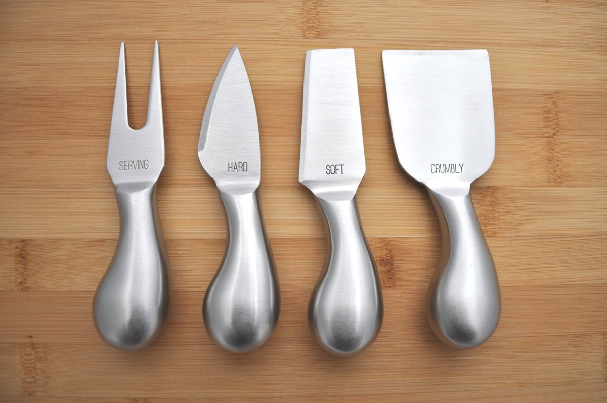 Labeled cheese knives are the perfect accessory for a party or get together.