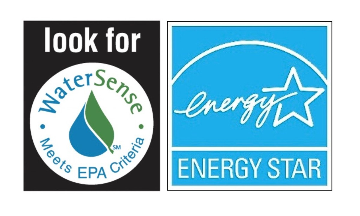 The Water Sense logo on the left and Energy Star logo on the right are symbols developed by the US Environmental Protection Agency to designate ultra-efficient appliances that conserve water and energy.