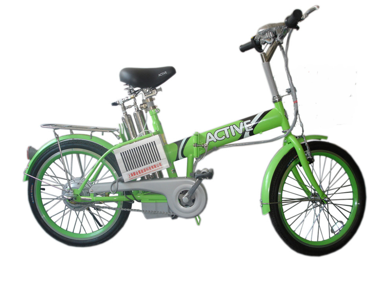 This hydrogen powered bicycle gives a little extra power boost when going uphill. It's a great replacement for a car in hilly areas.
