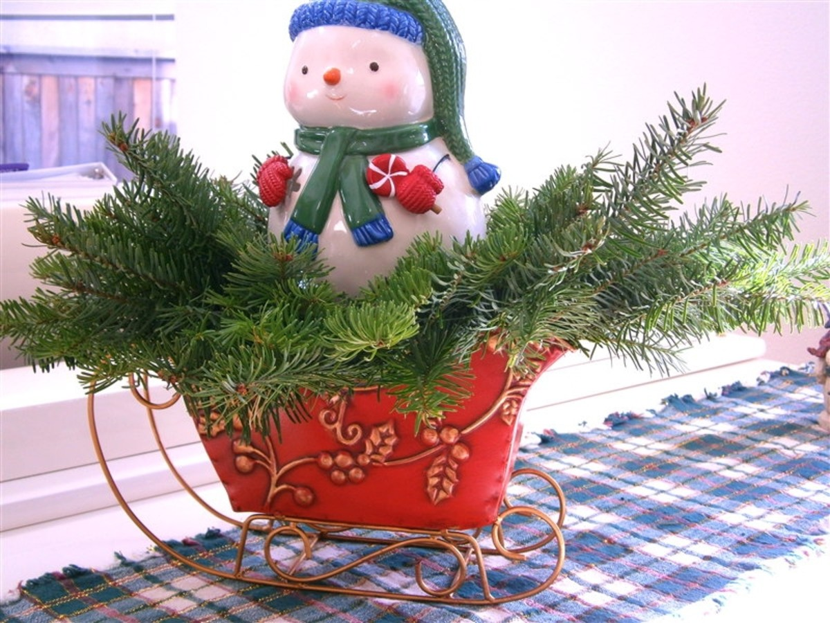 Free noble fir, snowman tealight--$5.99, floral foam--$1 and sleigh--free--given by a good friend (thank God for them). Total: $6.99