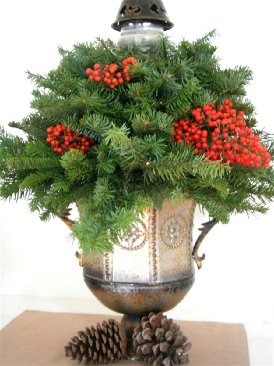 Need a Christmas tree but don't want to buy one? How about a small one, built entirely from free noble firs? The only cost  incurred--the candle in a jar and floral foam--well below $10.