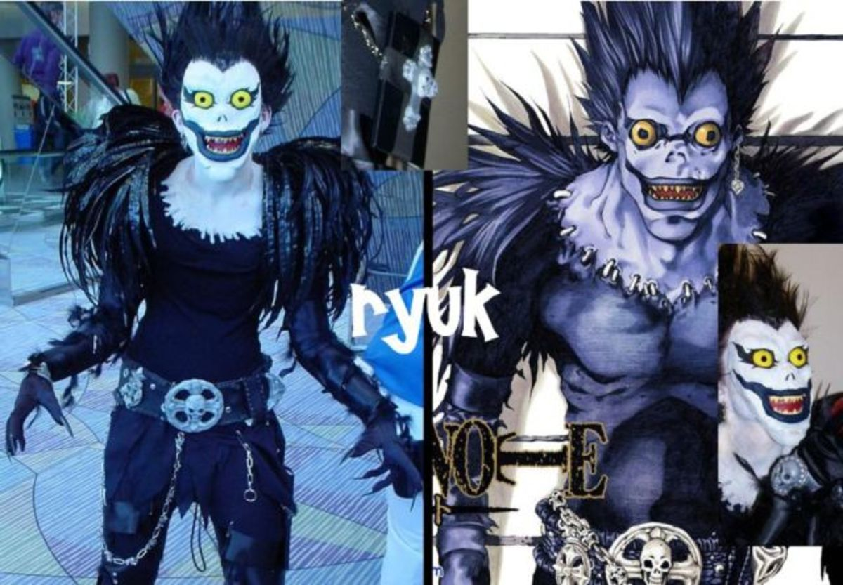 Someone's cosplay impersonation of Ryuk (Left), and Ryuk from the manga (Right).
