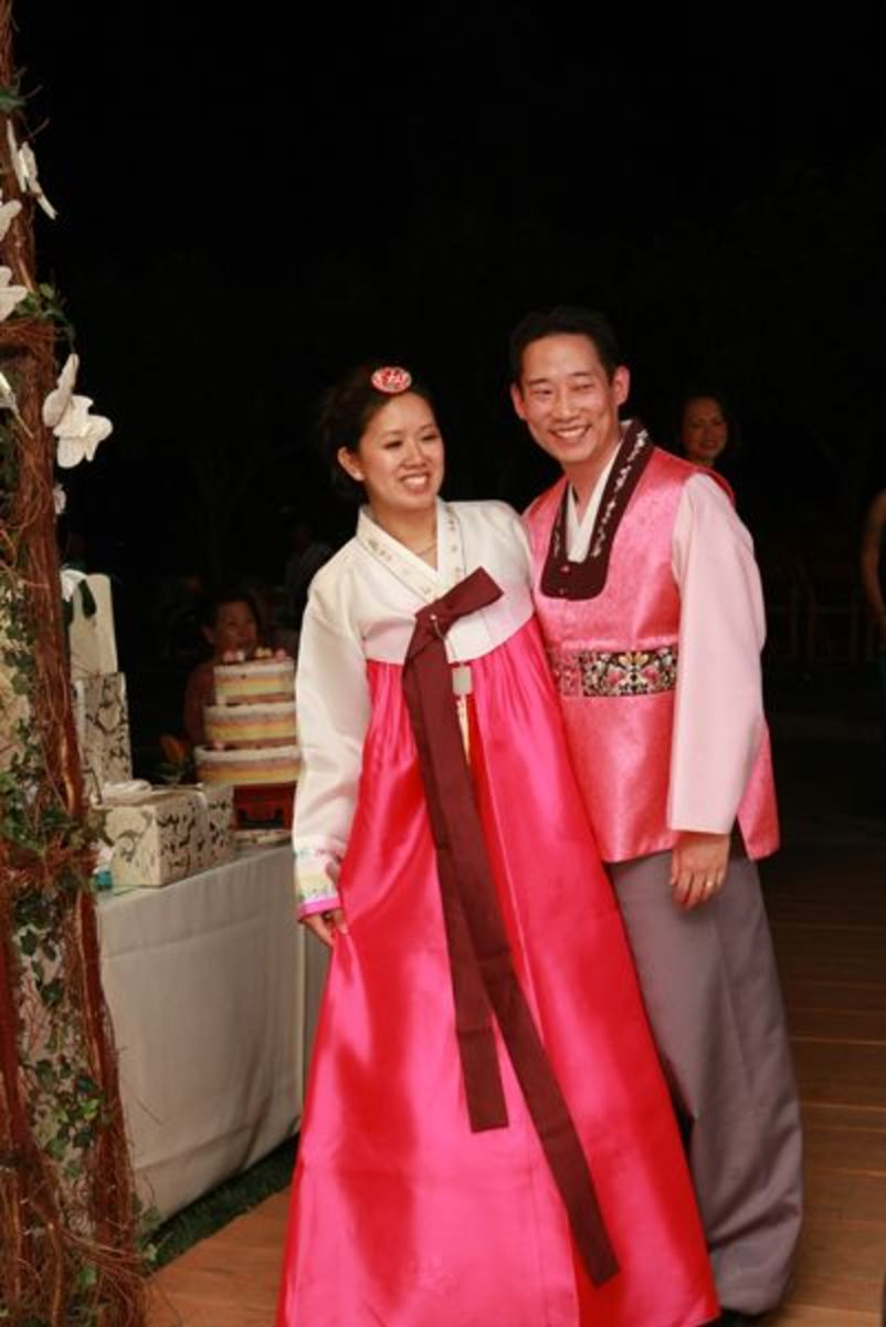 My husband and I in our traditional Korean wedding attire.