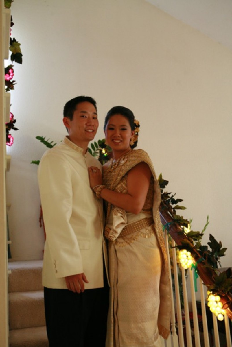 Our white and light gold silk outfits.