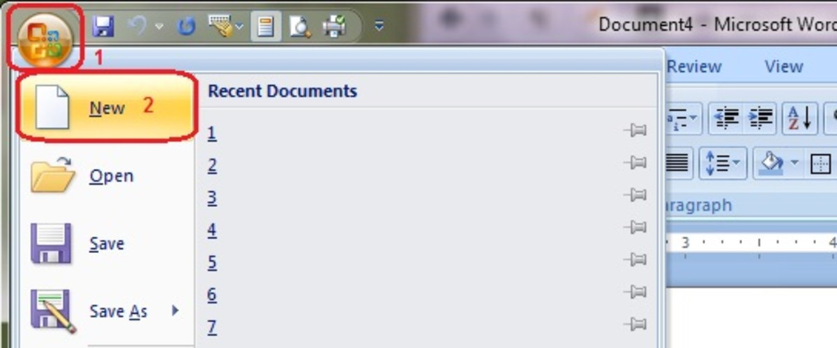 In Microsoft Office, select to create a new document.