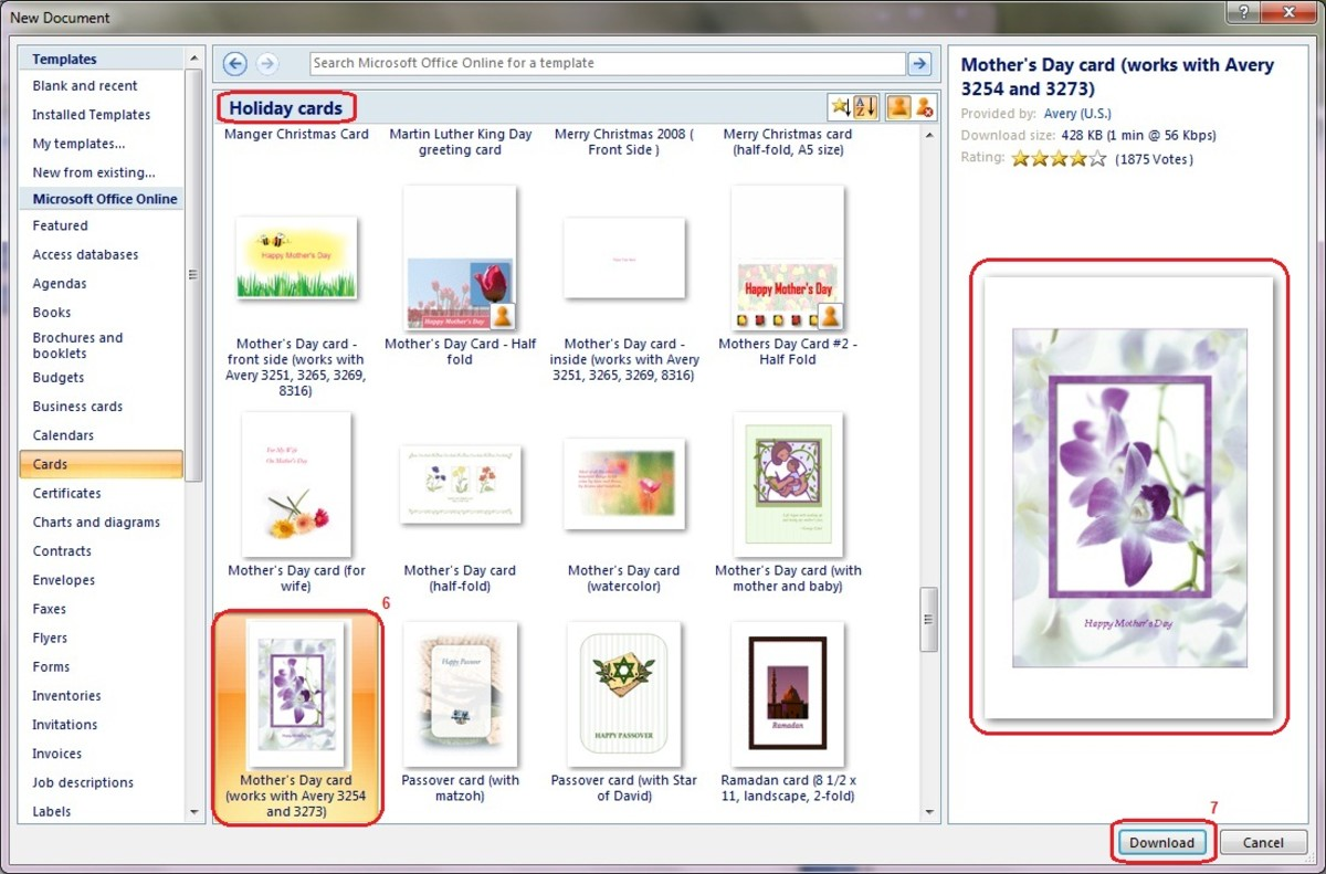 Click on any card to see a larger preview of that card. Select Download when you find one you like.