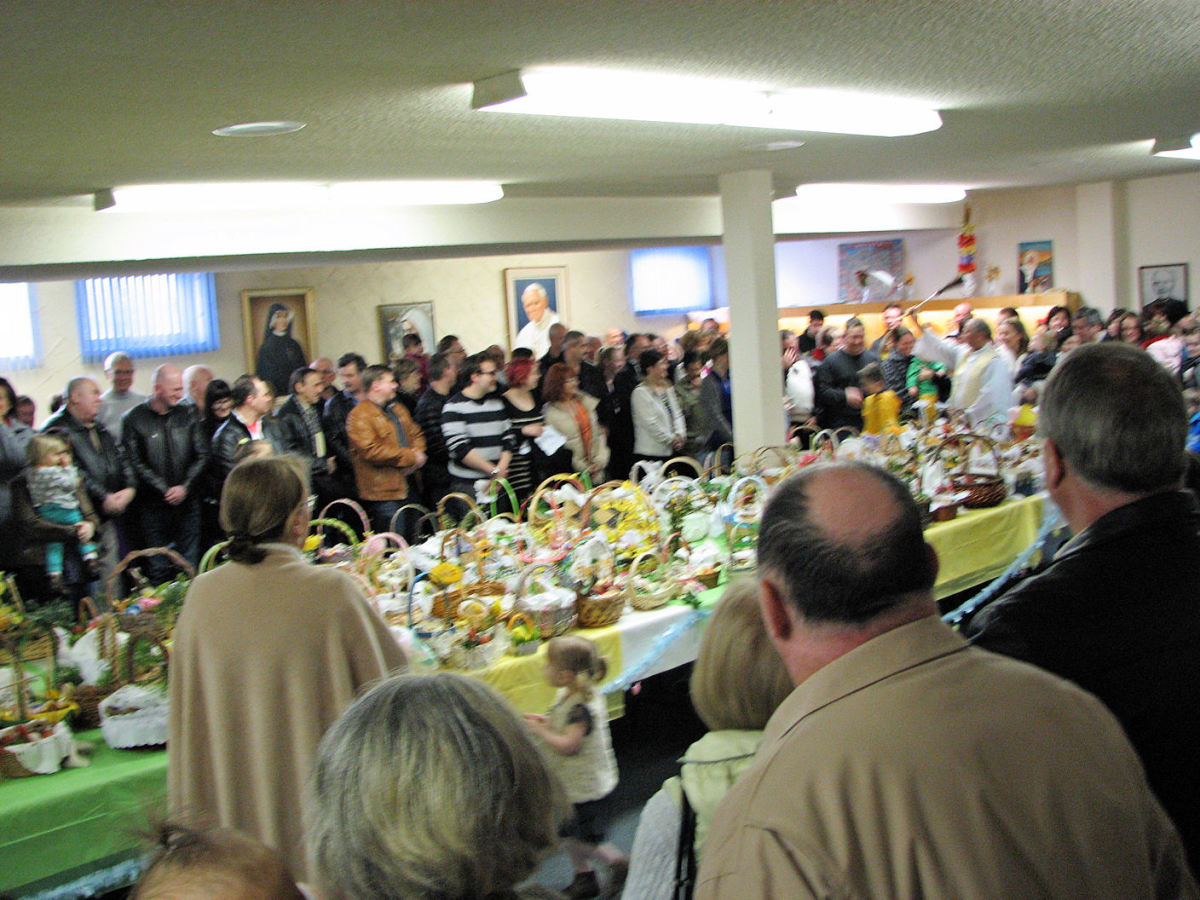 The blessing, taken while holding my camera as high above my head as I could, so please forgive the blurriness!  Blessing were done from 12-3.