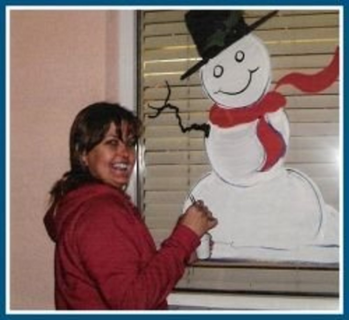 Painting a snowman.