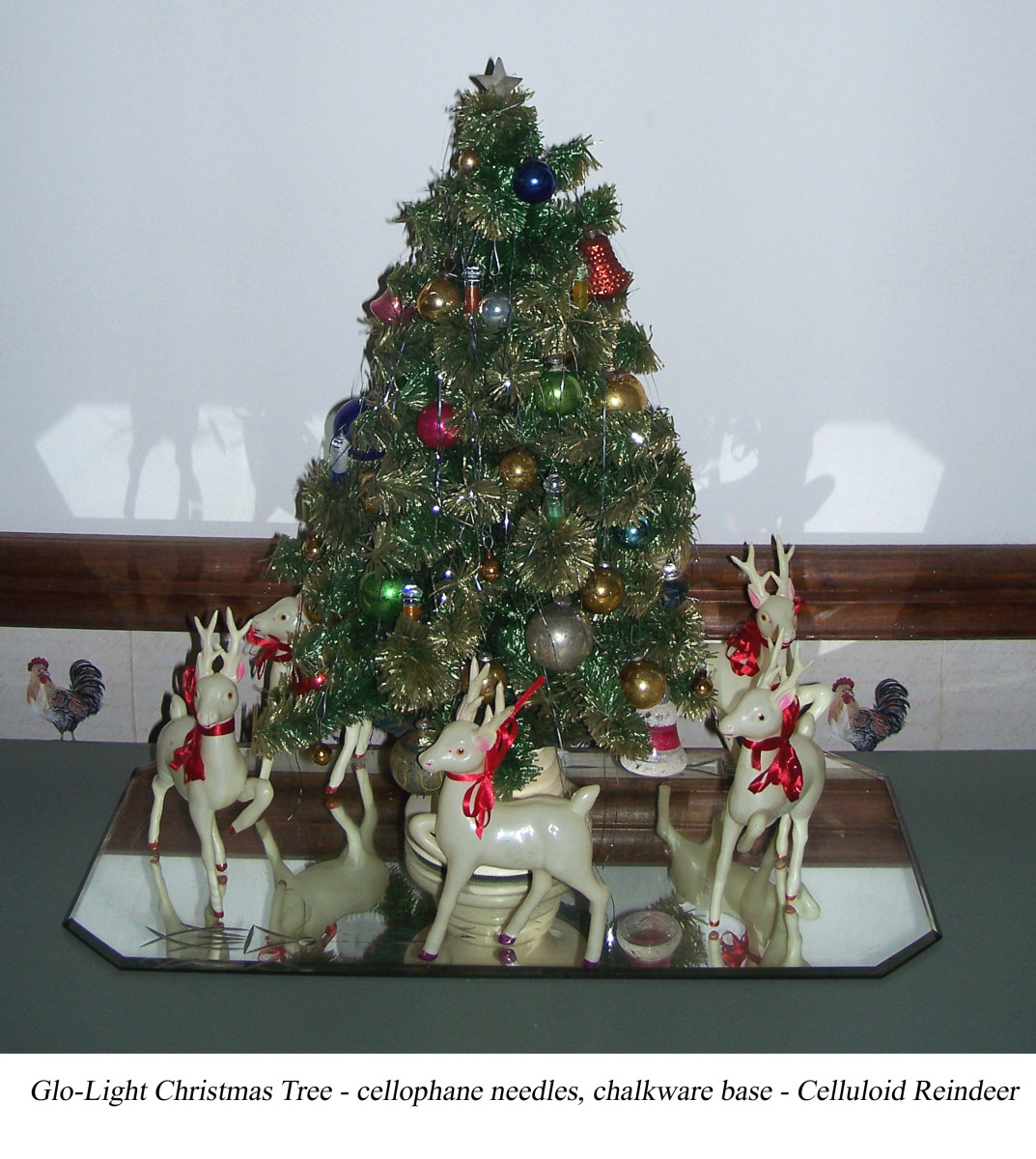 My mom's Glolite tree & the celluoid reindeer herd