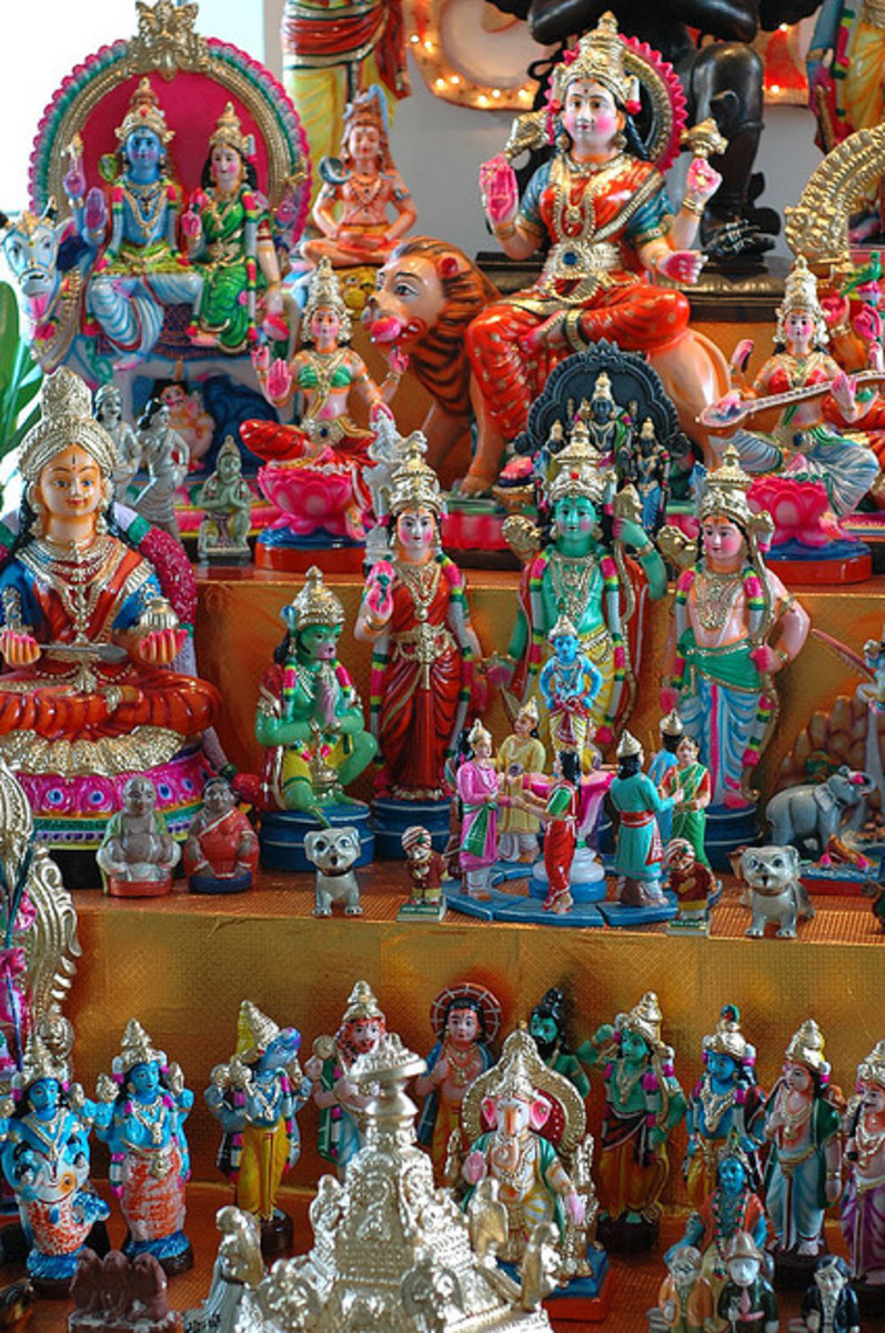 The different deities that are worshipped during the nine-day Navratri festival.